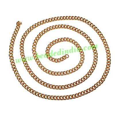 Gold Plated Metal Chain, size: 1x4mm, approx 31.3 meters in  - Gold Plated Metal Chain, size: 1x4mm, approx 31.3 meters in a Kg.