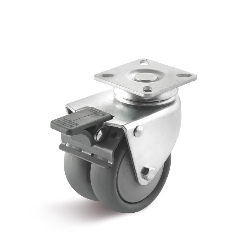 Thermoplast Apparate-Doppelrollen bis 100 kg - Radserie TPBK in AD Gehäuse, leicht gepresste Stahlblechgehäuse, verzinkt