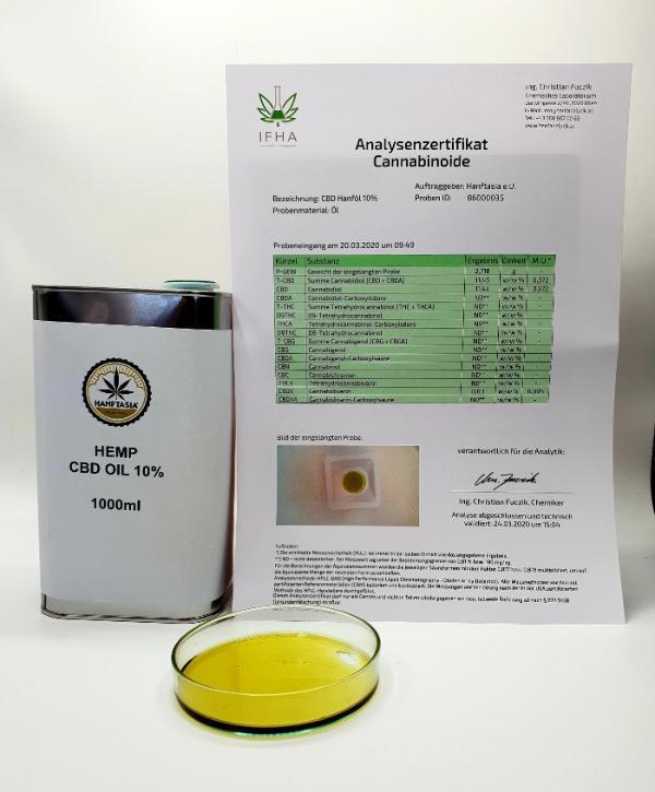 Hanf CBD Öl 10% 1 Liter - CBD Hanf-ÖL Tropfen 10% 1Liter 100.000mg CBD.
