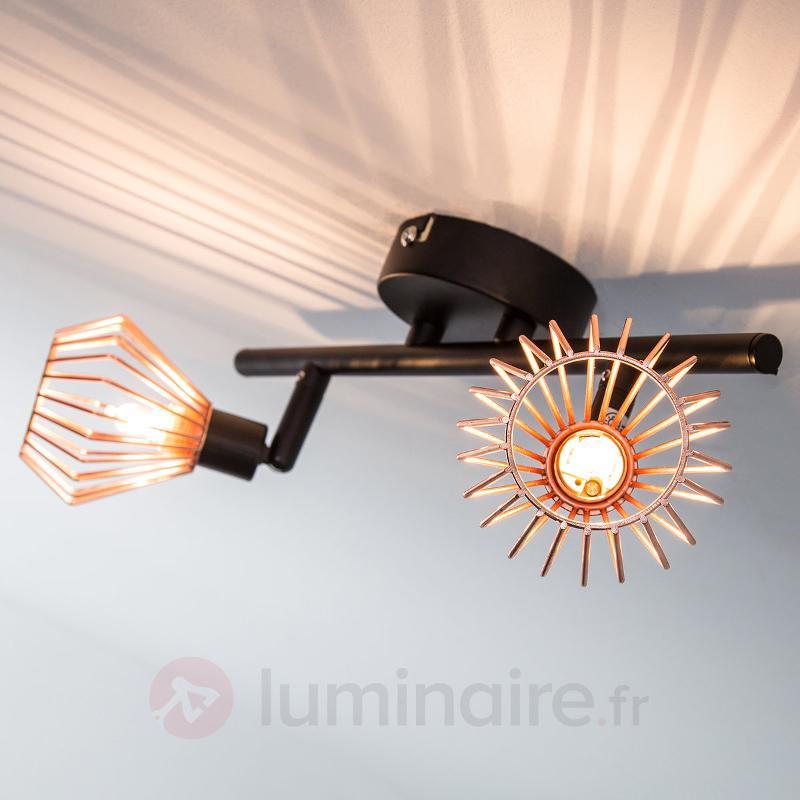 Plafonnier Dalma cuivre-noir - 2 lampes - Tous les plafonniers