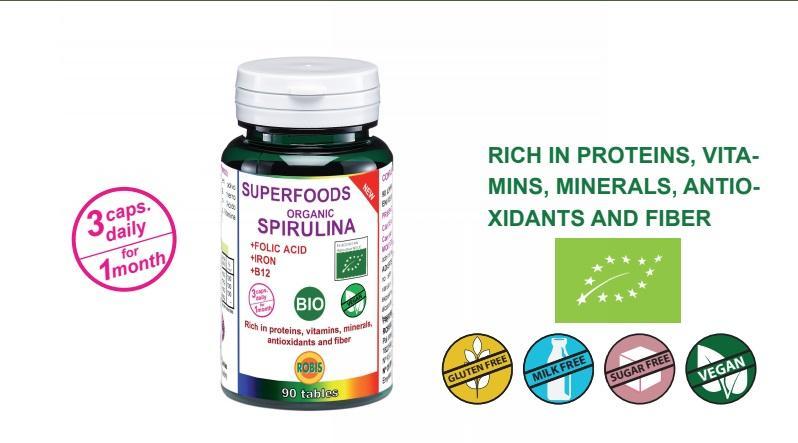 Spirulina Bio - Rich in proteins, vitamins, minerals, antioxidants and fiber.