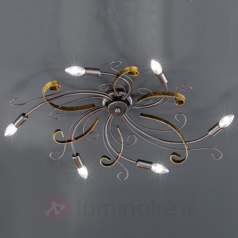 Plafonnier Garra aspect rouille à 6 lampes - Plafonniers rustiques