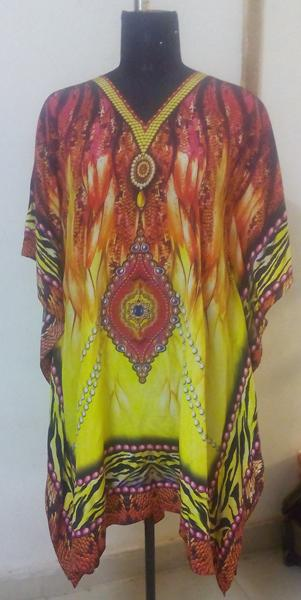 Digital Printed Silk Kaftan Manufacturing - Digital Printed, Custom Design, Hand Embellished, Silk Georgette Used