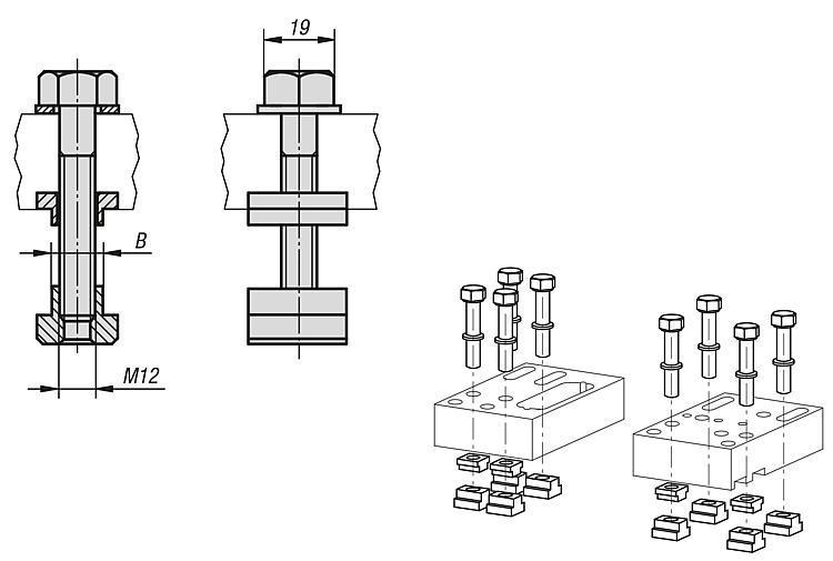 Ensemble de fixation pour tables à rainures - Étau de bridage 5 axes