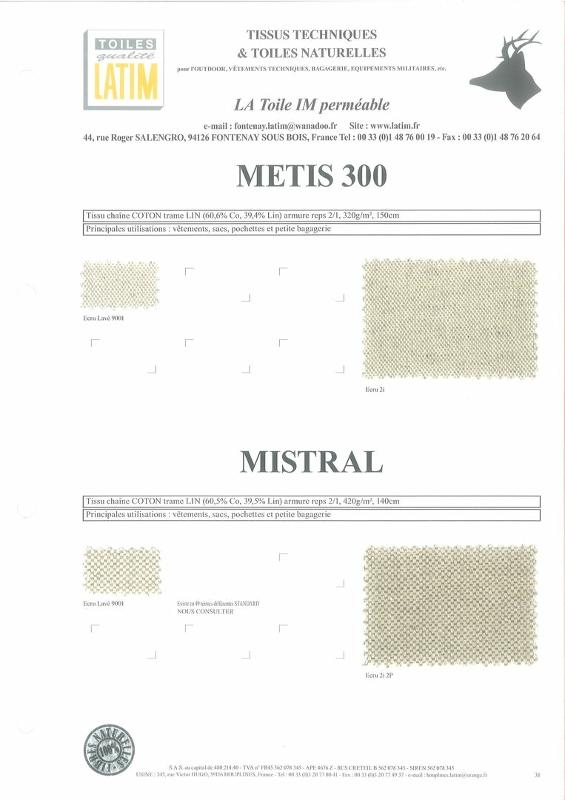 METIS 300 & MISTRAL - Toiles naturelles