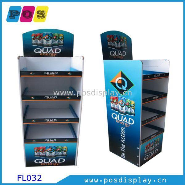 Cardboard shelf Display stand FL032 - Retail POP Floor display shelf for soft drinks promotion