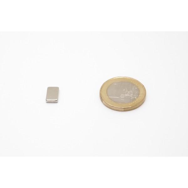 Block magnet, Neodymium, 10x6x2 mm, N45, Ni-Cu-Ni,... - null