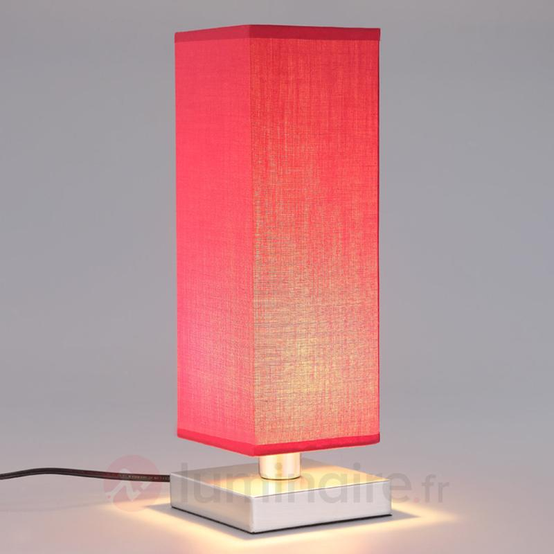 Lampe de chevet rouge Julina abat-jour en tissu - Lampes à poser en tissu