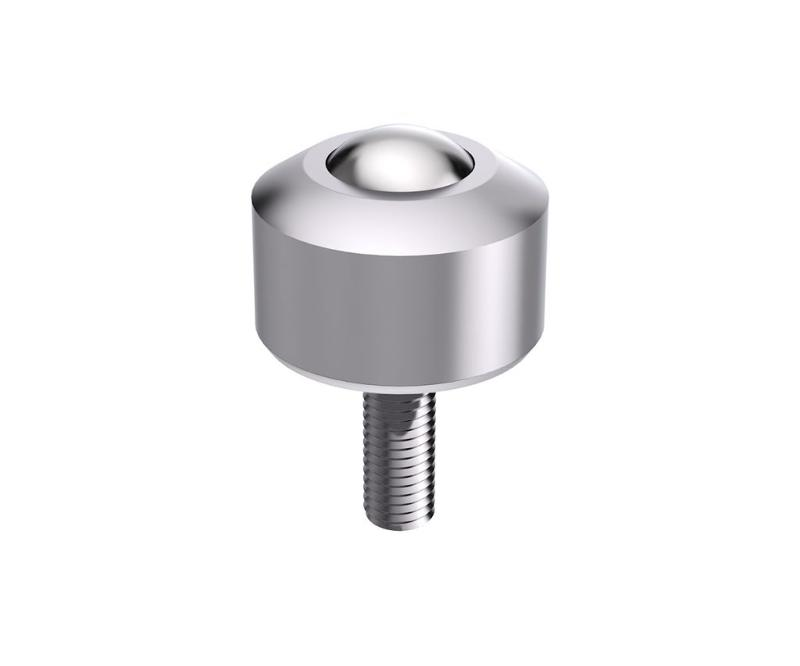 Solid ball caster MINI without collar, threaded pin, conical - null