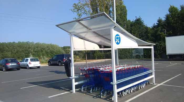 Rénovation peinture abri chariots supermarchés  -
