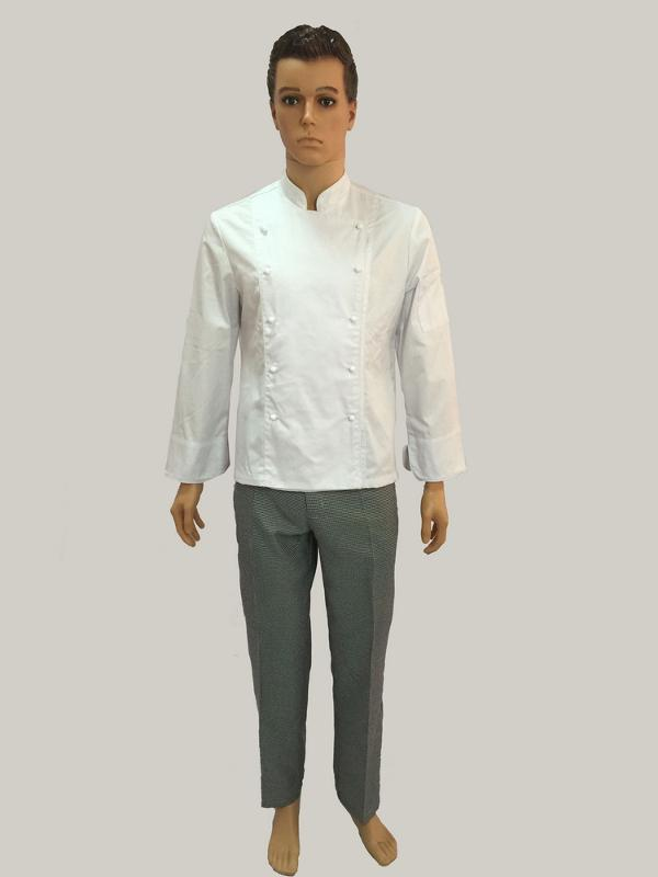 CHEF UNIFORM - Bordure chef coat with 1 tool pocket on left sleeve