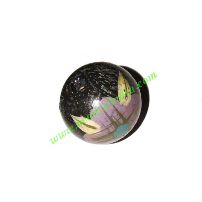 Wooden Painted Beads, Fancy Design Hand-painted beads, size  - Wooden Painted Beads, Fancy Design Hand-painted beads, size 26mm, weight approx