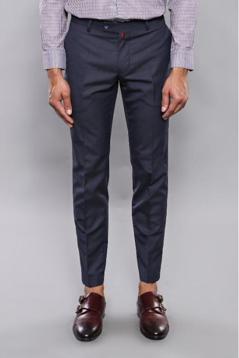 Striped Navy Blue Trousers - Striped Cotton Navy Blue Trousers