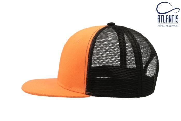 Cappello arancio-nero, visiera piatta e retina in plastica - Cappello arancio-nero con visiera piatta, frontale rigido e retina in plastica