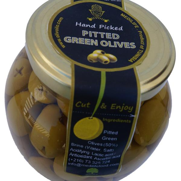 PITTED GREEN OLIVES  - Pitted Green Olives 370g