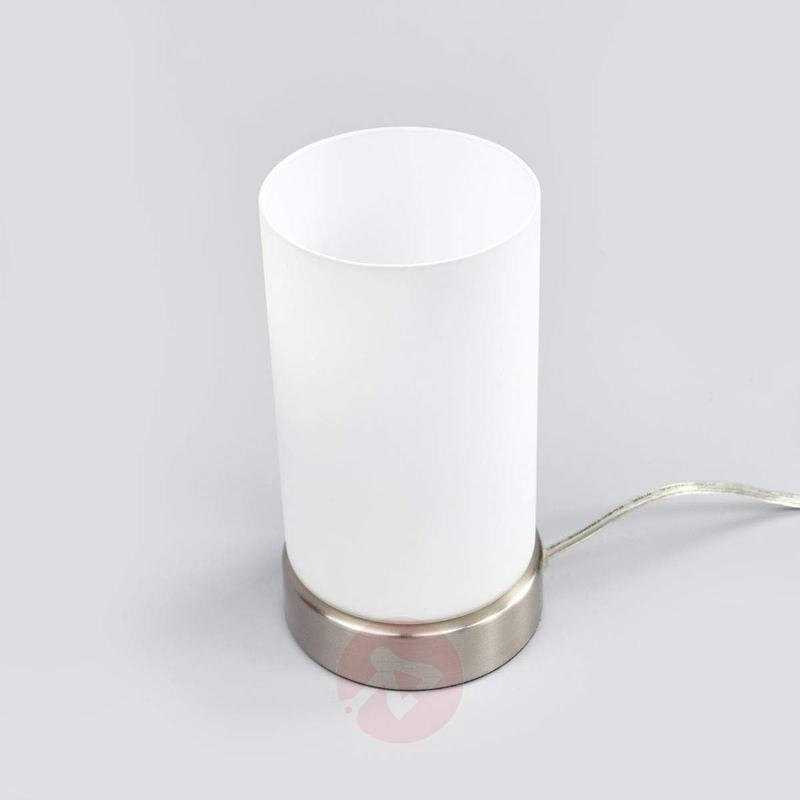 Cylindrical LED table lamp Levka made of glass - Bedside Lamps