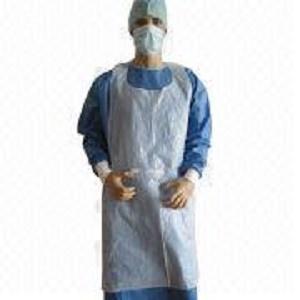 Delantal recubierto desechable - blanco y azul o personalizado 24 x 42 x 28 y 46 x 36 x 52 pulgadas o personaliza