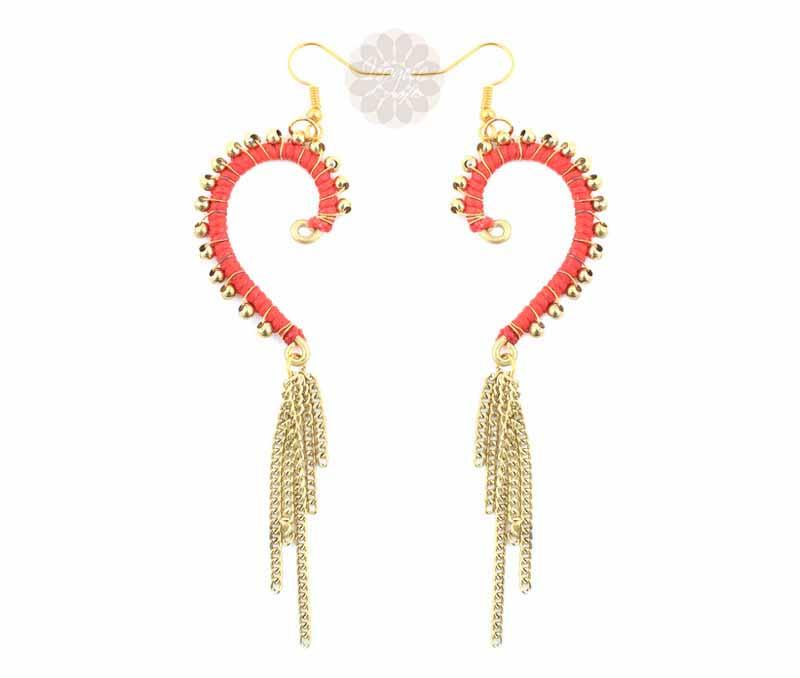 Golden Ball Heart Earrings -
