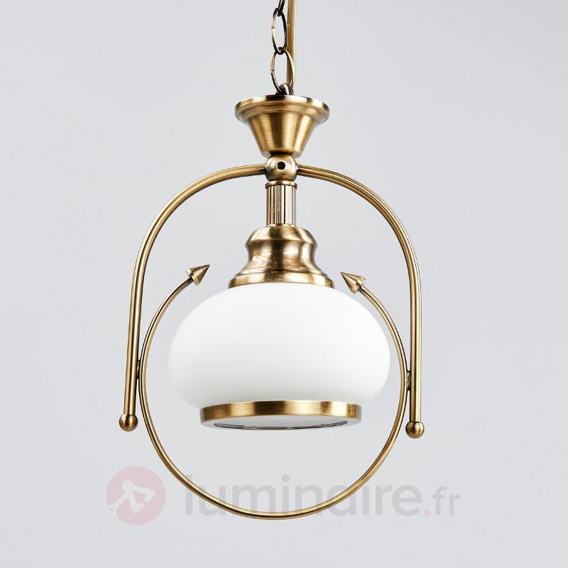 Suspension NOSTALGIKA à 1 lampe en laiton ancien - Suspensions classiques, antiques
