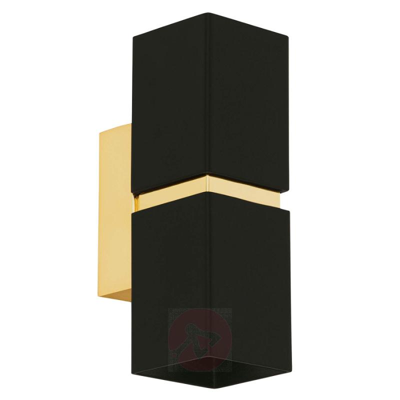 2-bulb LED wall light Passa, black-gold - indoor-lighting