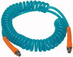 Spiral hose, Fibre reinforced, PUR, G 3/8, Hose 12x8, 7.5 m - Spiral hose, with swivel adapter and kink protector, braided