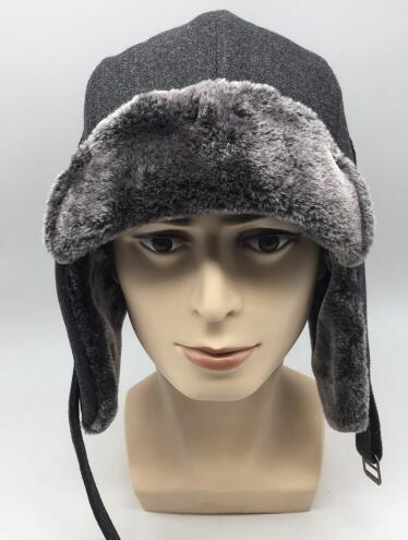 Wool and Fur Aviator Hat with Earflaps - Wool and Fur Aviator Hat with Earflaps