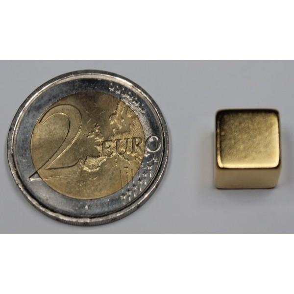 Neodymium cube magnet 10mm, N42, Ni-Cu-Ni-Au, Gold coated - null