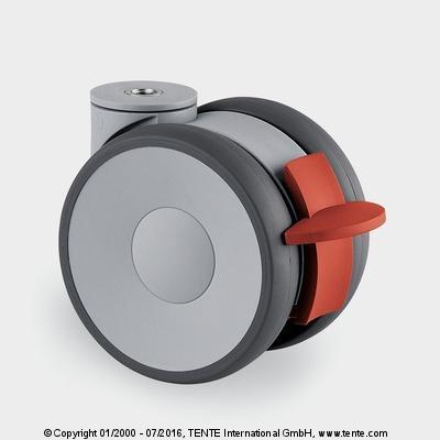 Roulette de création - Roulettes pivotantes à frein, LINEA 5945UAP075P30-10 LH RAL7001