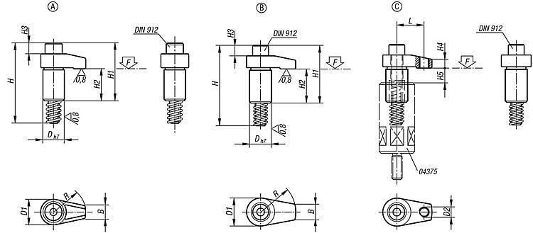 Flexibles Normteilesystem - Spannhaken geschliffen Form A/B/C