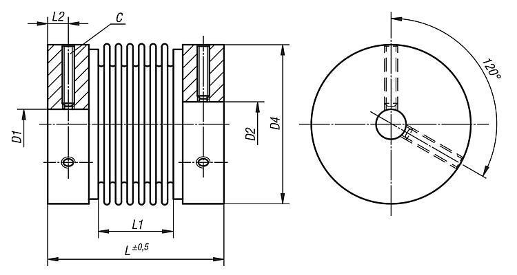 Metal bellows couplings clamping with grub screw - Couplings