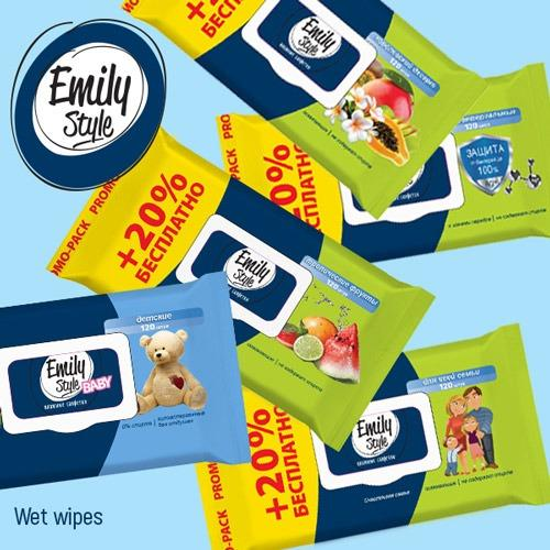 Wet wipes  - Multipurpose wet wipes Emily Style with lid, 120 pcs