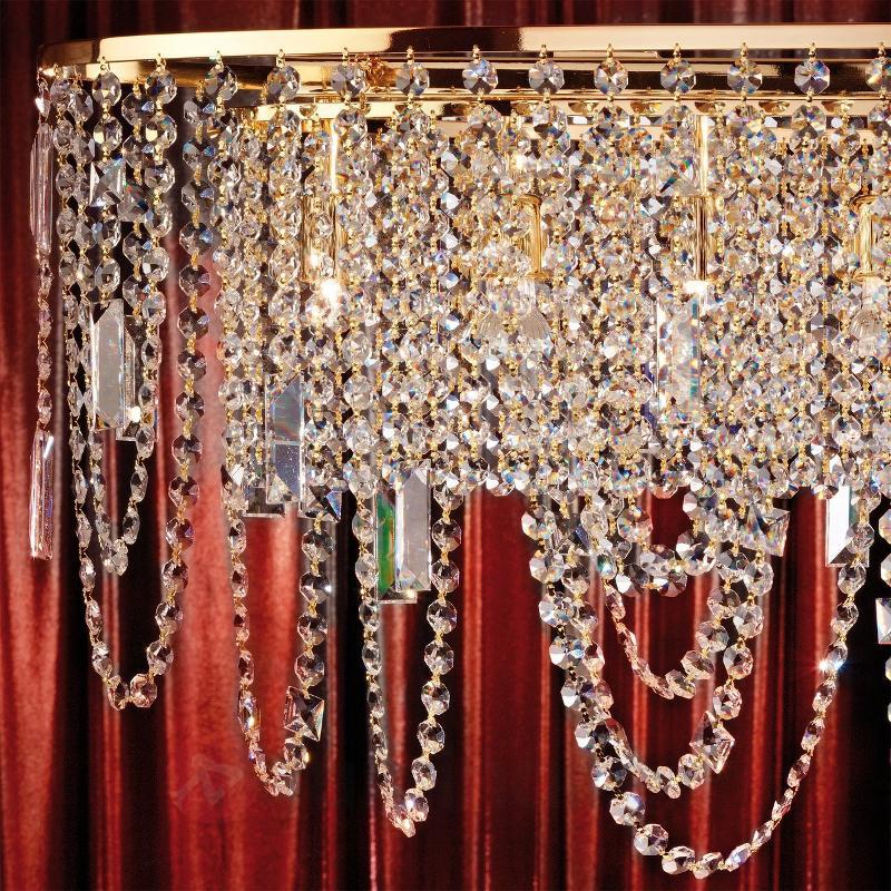Magnifique suspension JEVANA, dorée de 24 C - Suspensions en cristal