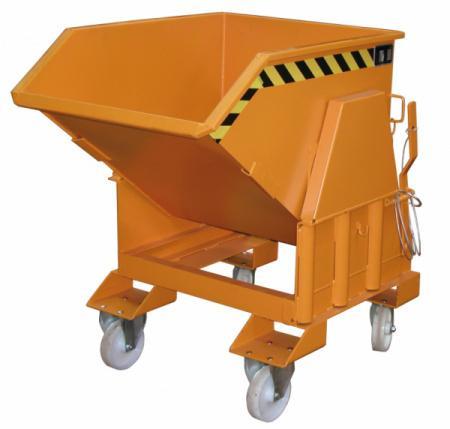 Kippbehälter Typ BK, Anbaugerät für Gabelstapler - Behälter mit Einfahrtaschen für Gabelzinken und Abrollmechanismus zum Abkippen