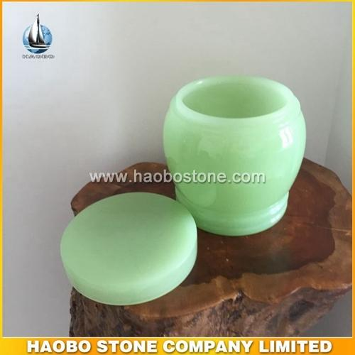 Elegant glossy green onyx stone urn for ashes - Funeral Urns