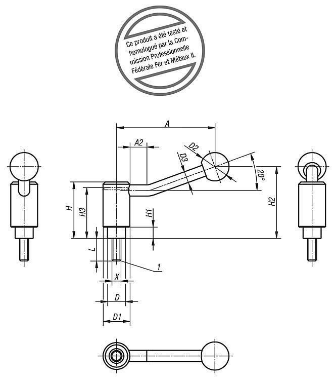 Poignée indexable de sécurité avec vis - Leviers de blocage, manettes indexables
