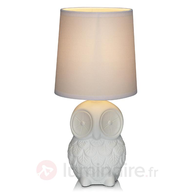 Lampe à poser Helge blanche en forme de hibou - Lampes à poser en tissu