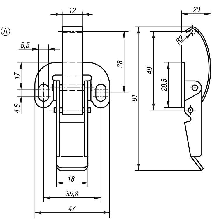 Latches With Spring Clip - Toggle clamps Pneumatic clamps Accessories for clamps Latches Quarter-turn locks