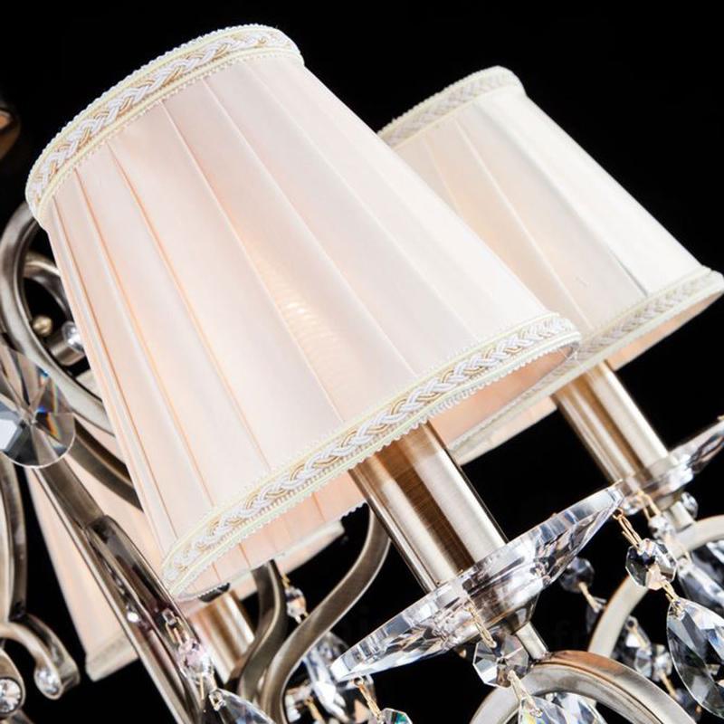 Lustre en cristal Estelle avec abat-jour en satin - Lustres à abat-jour