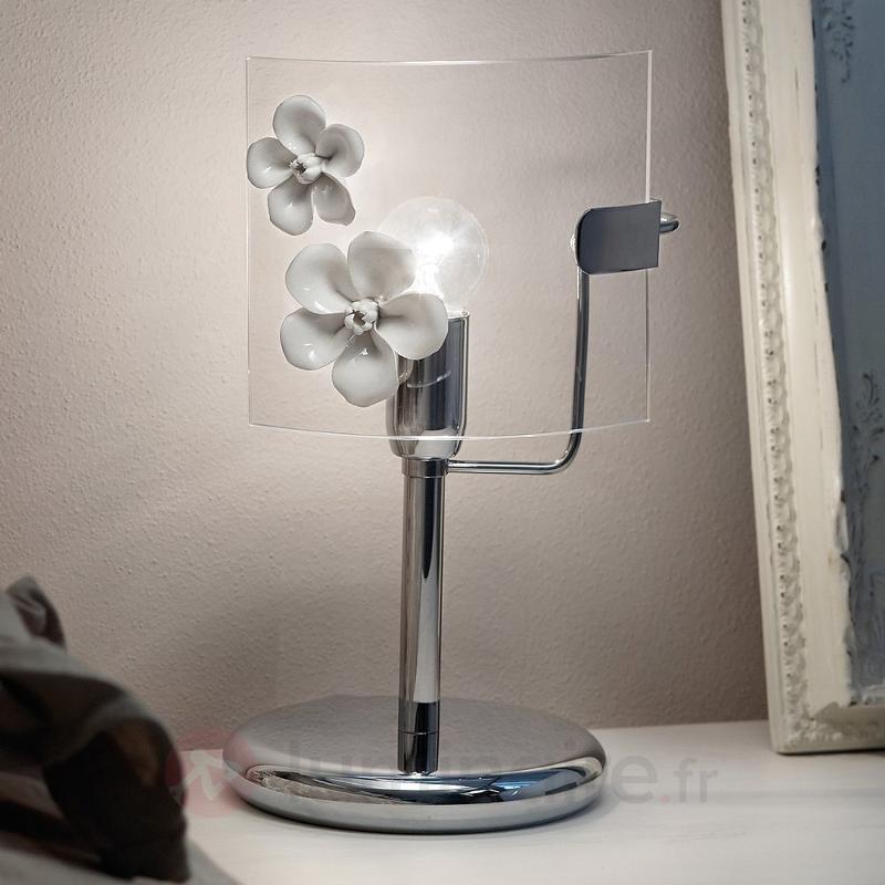 Lampe à poser CHIARA avec fleurs décoratives - Lampes de chevet