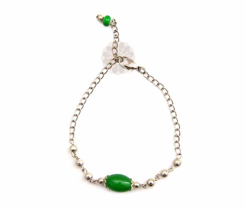 Simple Green Bead Anklet -