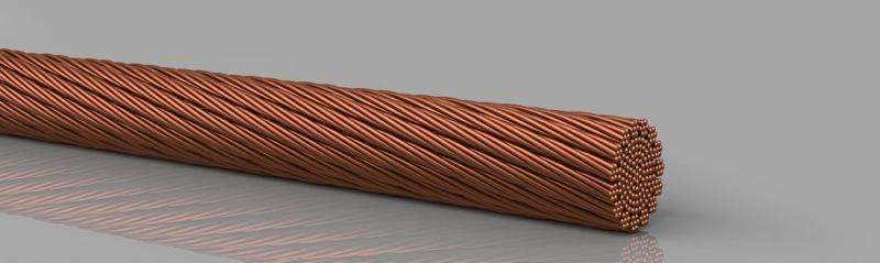 Copper products, without insulation - Copper round ropes extremely flexible, bare