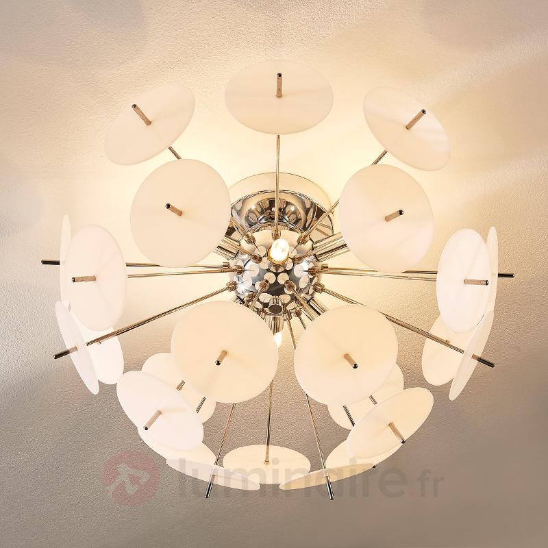 Plafonnier LED Lyrien, cache en plastique blanc - Chambre à coucher
