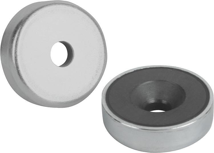 Magnets Shallow Pot With Countersink Hard Ferrite - Magnets
