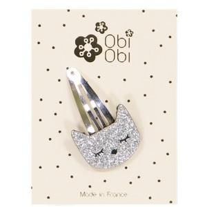 Barrette Chat Argent