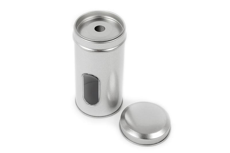 Round spice tin with spreader and window - null