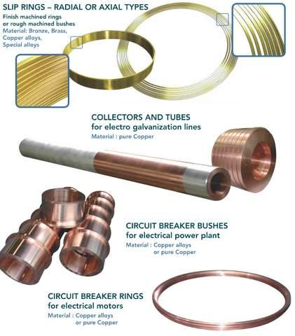 Components for electrical applications - centrifugal castings in copper alloys for slip rings, collectors...