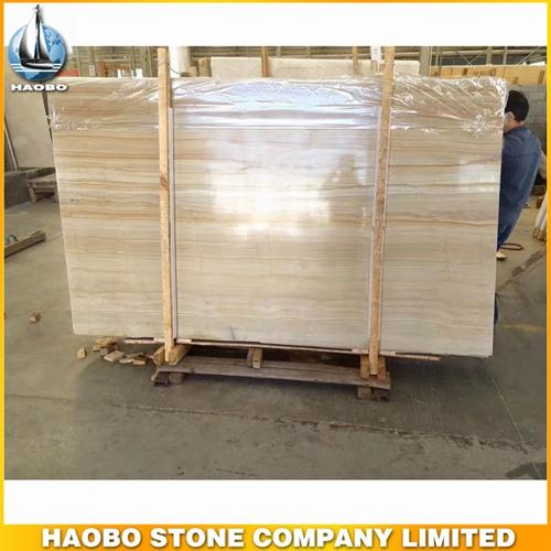 China Gold Wooden Grain Marble Slab For Interior Decoration