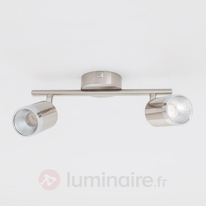 Plafonnier LED Jarne à 2 lampes, couleur nickel - Plafonniers LED