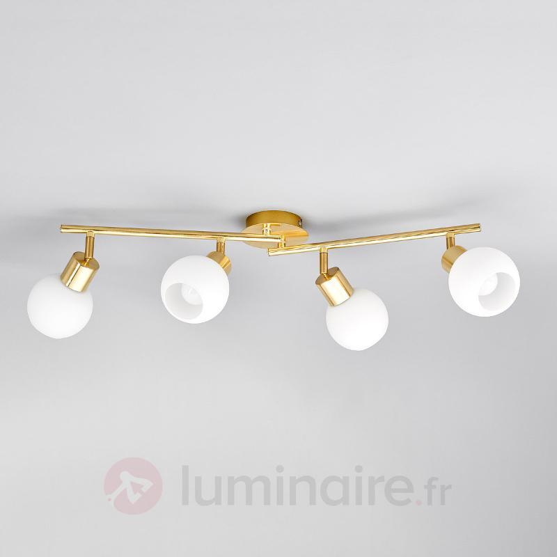 Plafonnier LED Elaina à 4 lampes en laiton - Plafonniers LED