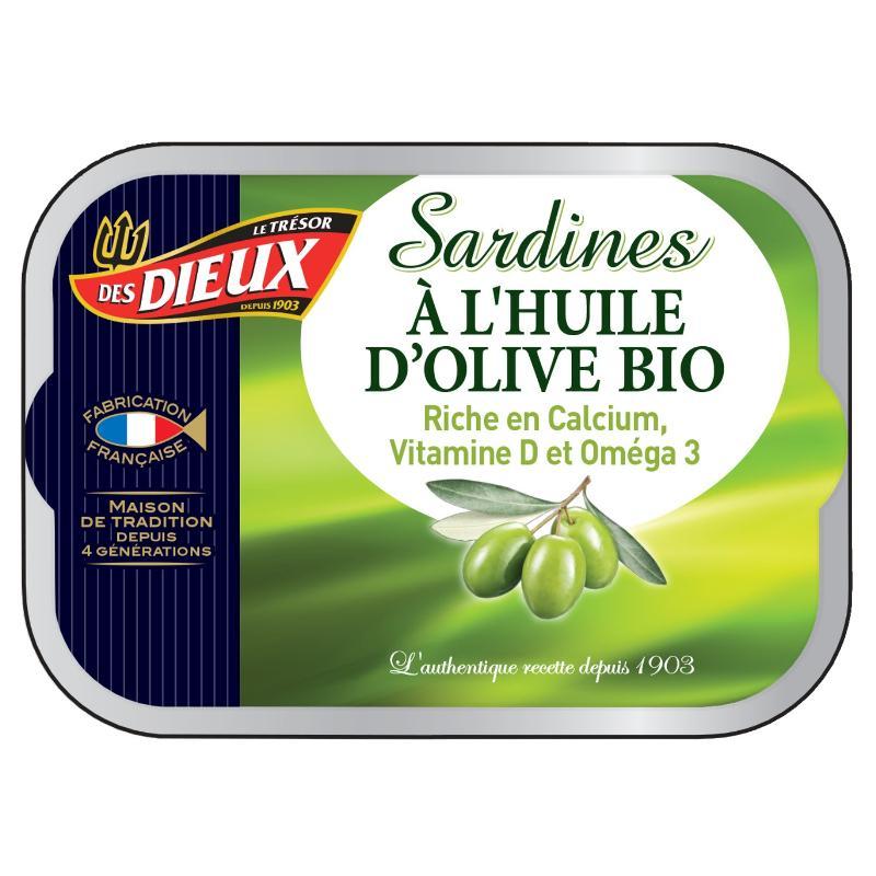 Sardines huile d'olive bio 115g - LES DIEUX - Sardines huile d'olive bio 115g - LES DIEUX